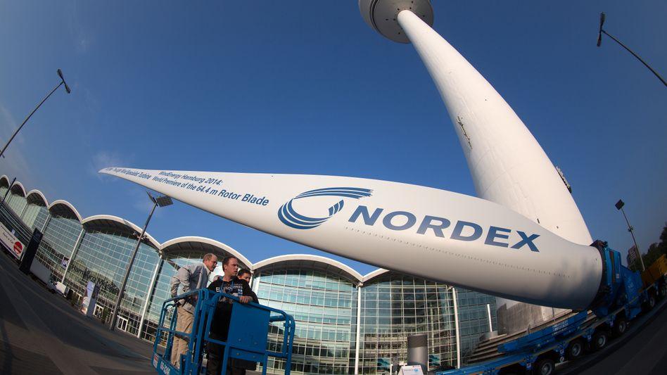 Rotorblatt eines Windrads des Windkraftanlagen-Herstellers Nordex