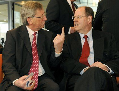 """""""Frühestens 2011"""": Luxemburgs Finanzminister Juncker (l.) mit deutschem Kollegen Steinbrück"""