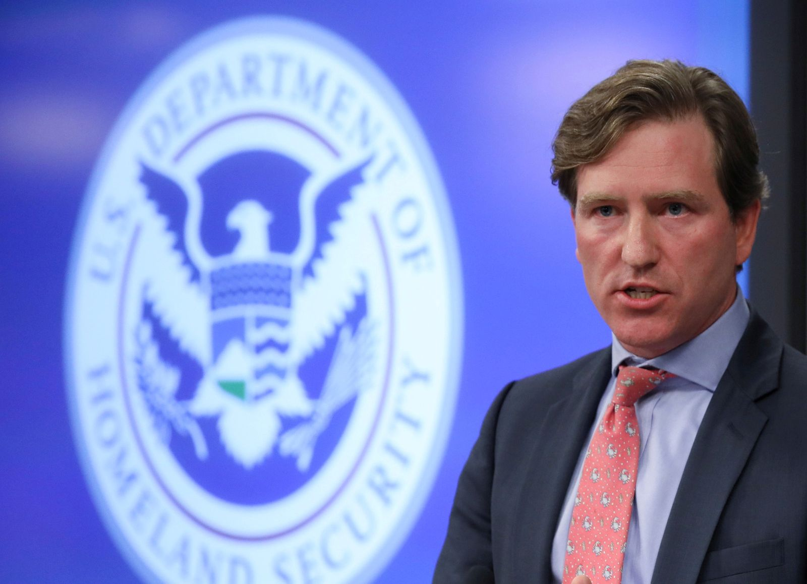 FILE PHOTO - U.S. Department of Homeland Security Under Secretary Chris Krebs speaks to reporters at the DHS Election Operations Center and National Cybersecurity and Communications Integration Center (NCCIC) in Arlington