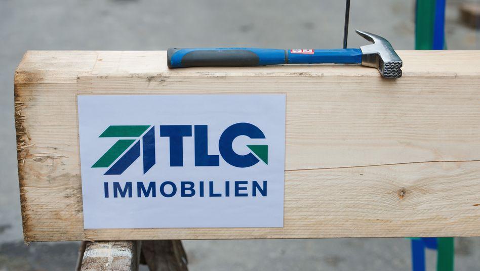 TLG-Logo bei einem Richtfest in Stralsund (Archivaufnahme)