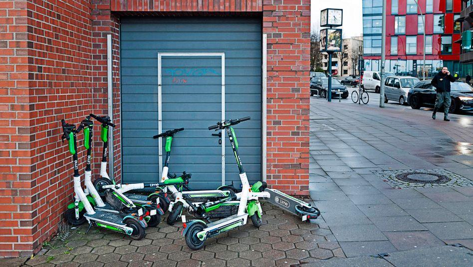 Nicht alle Start-ups werden den Sommer überstehen: E-Scooter in Hamburg.