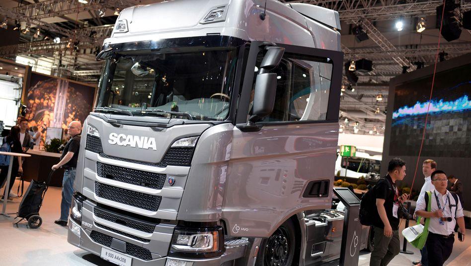 Zugkraft für China: Scania-Lkw auf einem Messestand in Hannover (Archivbild von 2018)
