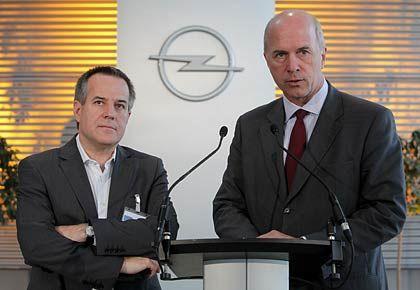 Magna und Opel: Magna-Vize-Chef Wolf (l.) und GM-Europa-Chef Forster