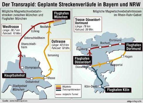 Die geplanten Transrapid-Strecken in NRW und Bayern