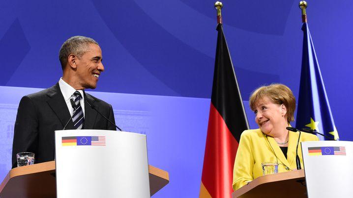 Obama in Hannover: Bussi für die Kanzlerin