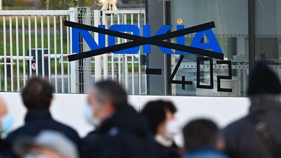 Protest von Nokia-Beschäftigten gegen Stellenabbau am französischen Standort Lannion am 19. Oktober