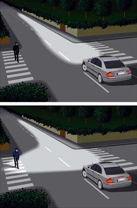 Mehr Sicherheit beim Abbiegen: Das neue Abbiegelicht leuchtet einen sehr viel größeren Fahrbahnbereich schräg vor dem Auto aus. Dies erhöht die Sicherheit beim Abbiegen erheblich