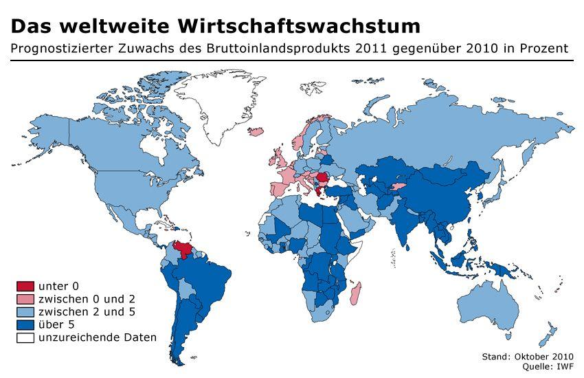 GRAFIK Weltweites Wirtschaftswachstum 2010/11 / IMF / IWF