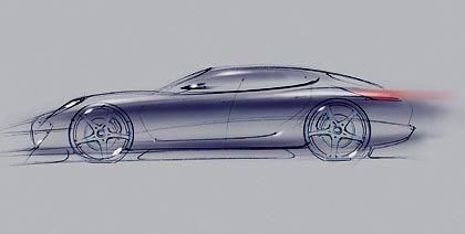 Fließende Form, noch reichlich verwischt: Offizielle Porsche-Zeichnung des Panamera