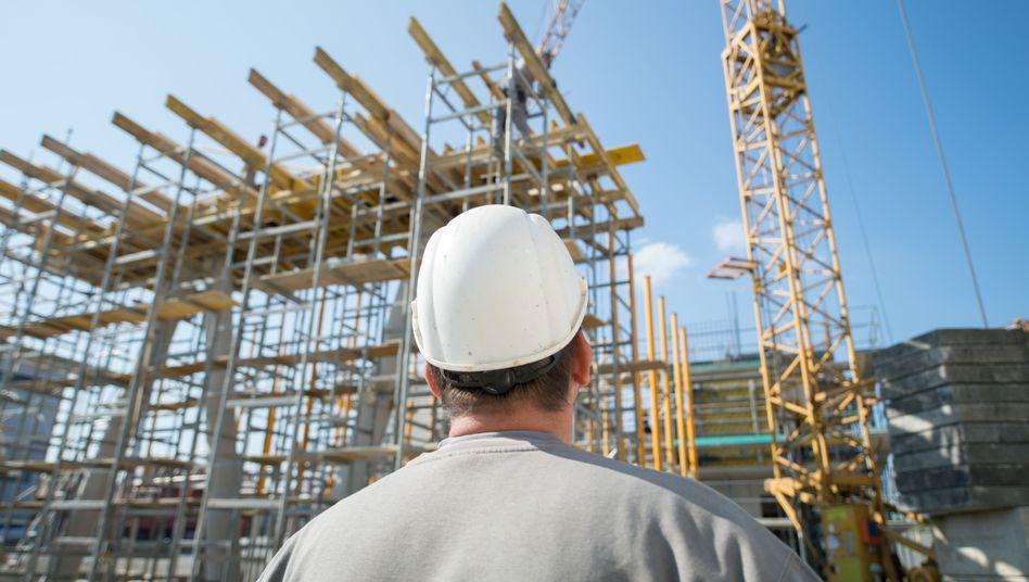 Bauarbeiter in Winnenden, Baden-Württemberg.