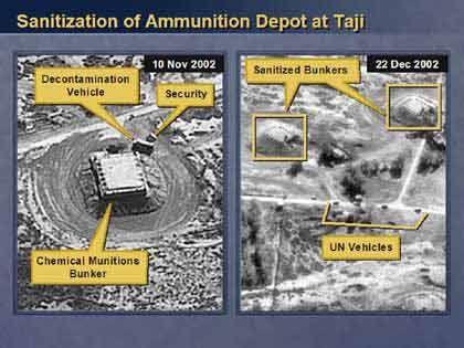 Die Aufnahmen vom 10. November und vom 22. Dezember 2002 sollen belegen, dass Taji entgegen der Auflagen noch betrieben wird. Der links abgebildete Flachbau soll ein Bunker für Chemiewaffen sein - rechts das gleiche Areal, frisch gesäubert für die Inspektoren.