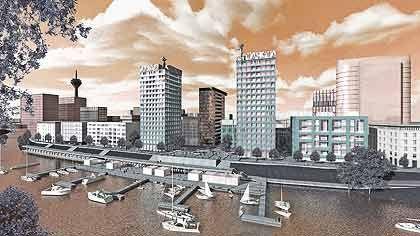 Dekor: Die Dächer der Wohntürme im Düsseldorfer Medienhafen werden von Markus Lüpertz gestaltete Skulpturen zieren