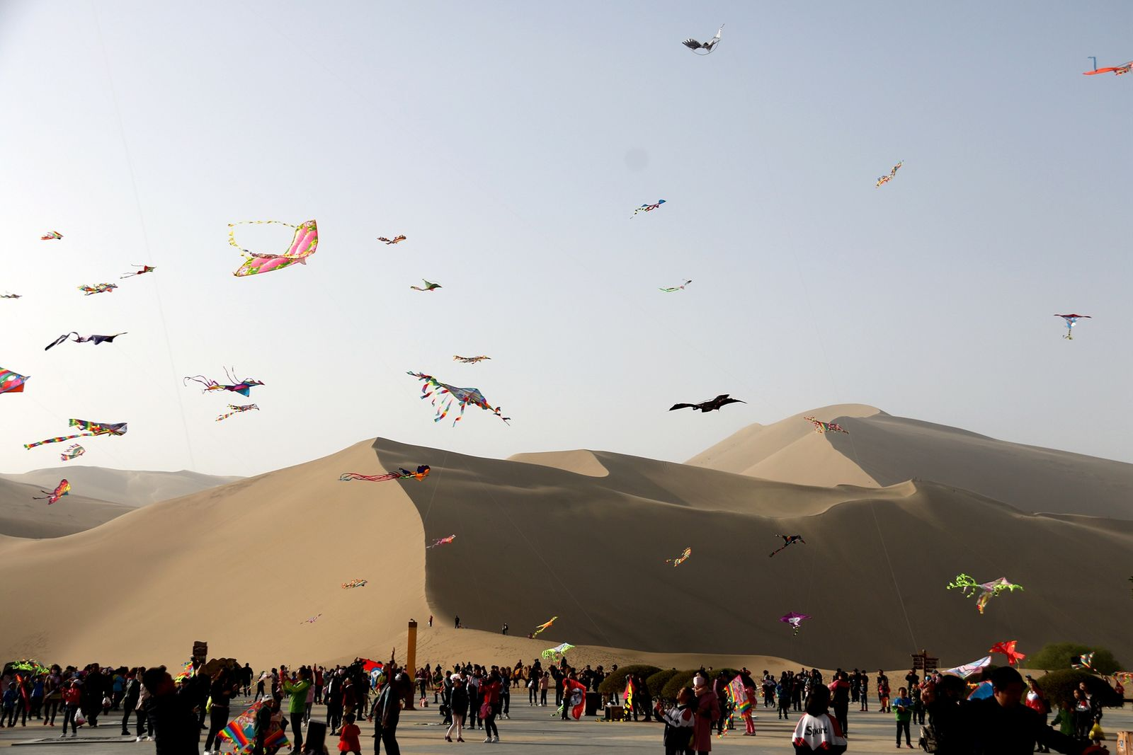 Flying Kites Event At Echoing-Sand Mountain In Dunhuang