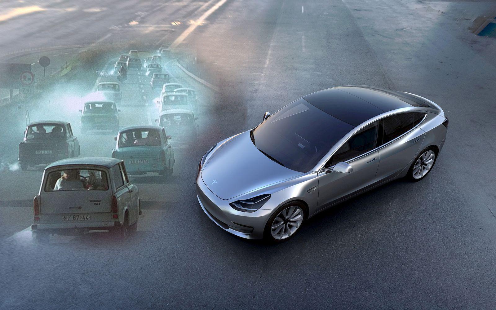 KOMBO Tesla MOdel 3 und Trabant