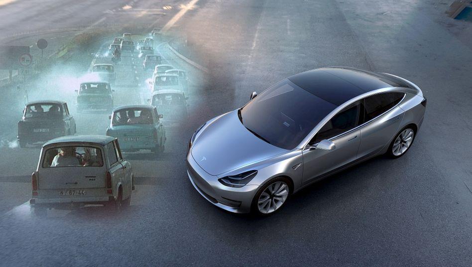 Trabant, Teslas Massenauto Model 3 (r.): Spartanische Wahlmöglichkeiten