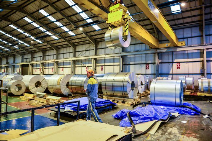 Stahlcoils von Tata Steel in England