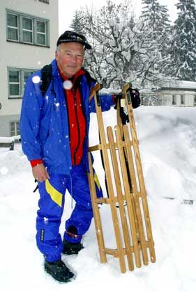 Schlittenfahrer: Auch die originalen Davoser Schlitten sind auf den Hängen zu finden