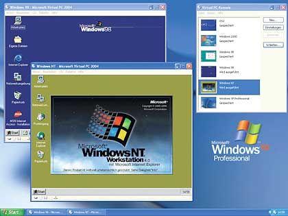 Windows unter Windows: Mit Hilfe des Emulators Virtual PC lassen sich auf einem Windows-XP-Rechner auch ältere Versionen des Microsoft-Betriebssystems nutzen