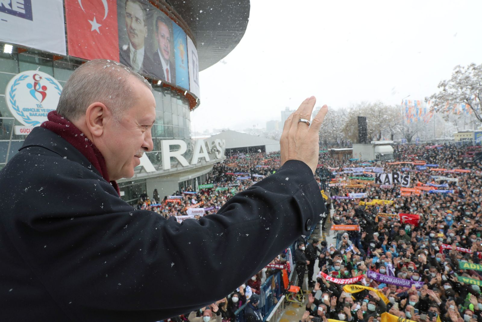 Turkish President Erdogan greets his supporters in Ankara