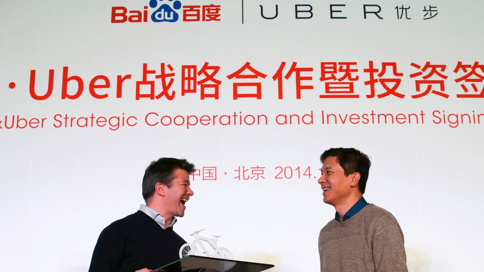 Uber-Chef Kalanick (links) in China: Umstrittener Taxi-Konkurrent