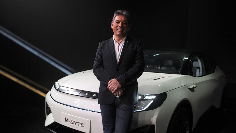 Carsten Breitfeld auf einer Messe in den USA: Damals war der Ex-BMW-Manager noch beim Elektroautohersteller Byton - nun heuert er beim Konkurrenten Faraday Future an
