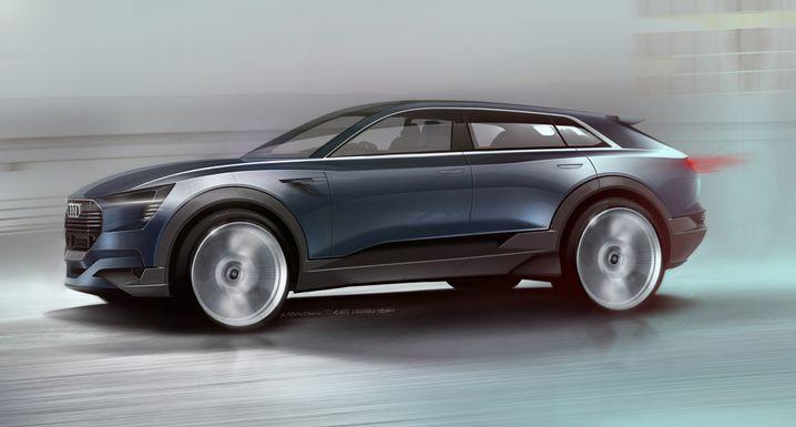 Skizze von Audis Elektro-SUV: Der direkte Konkurrent zu Teslas Model X soll 2018 an den Start rollen