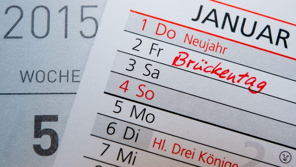 Kalender für 2015: Kaum Brückentage zu finden