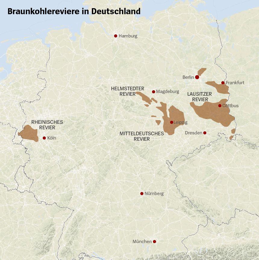 Braunkohlereviere in Deutschland Karte
