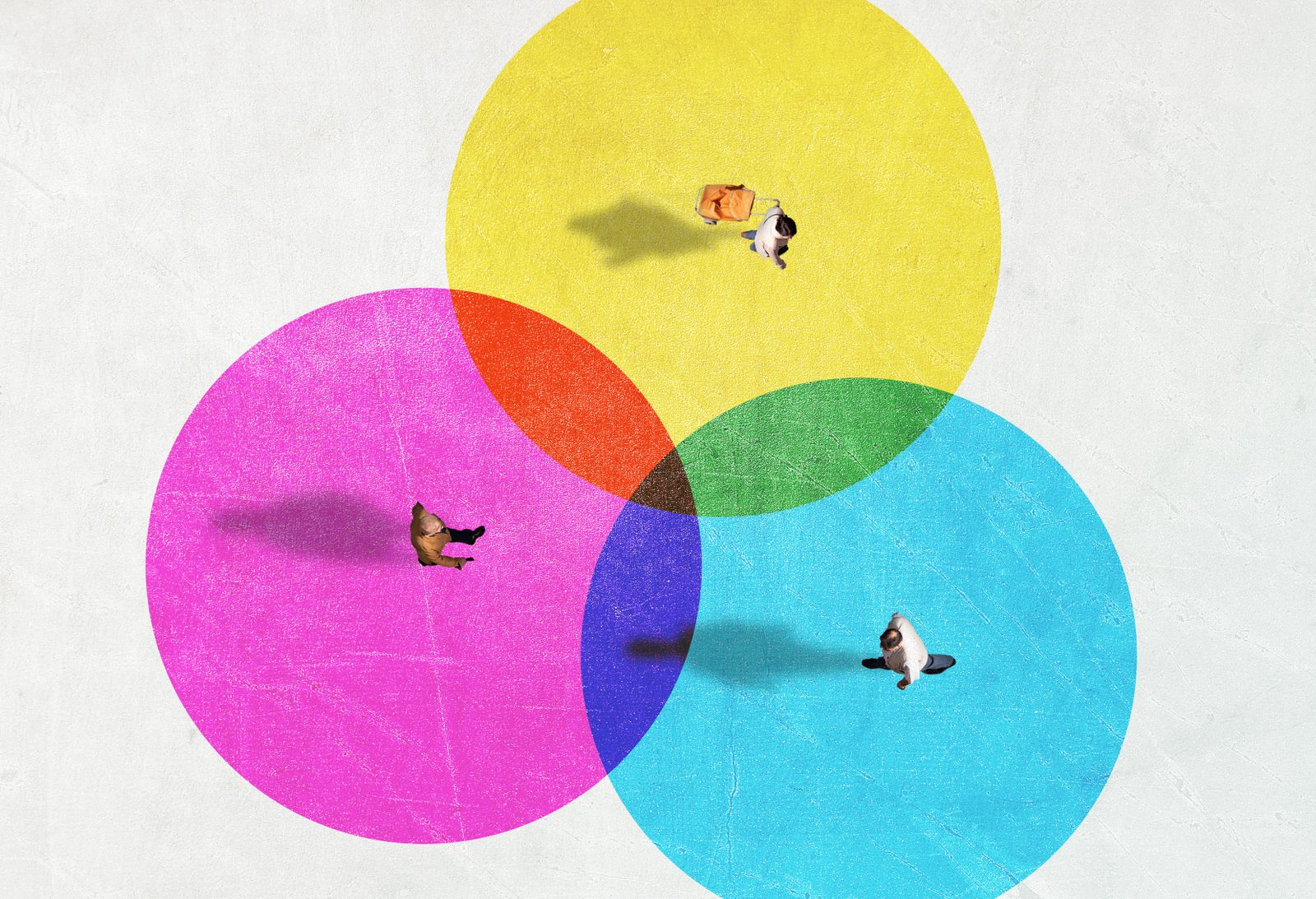 People from above inside colorful circles with social distancing.