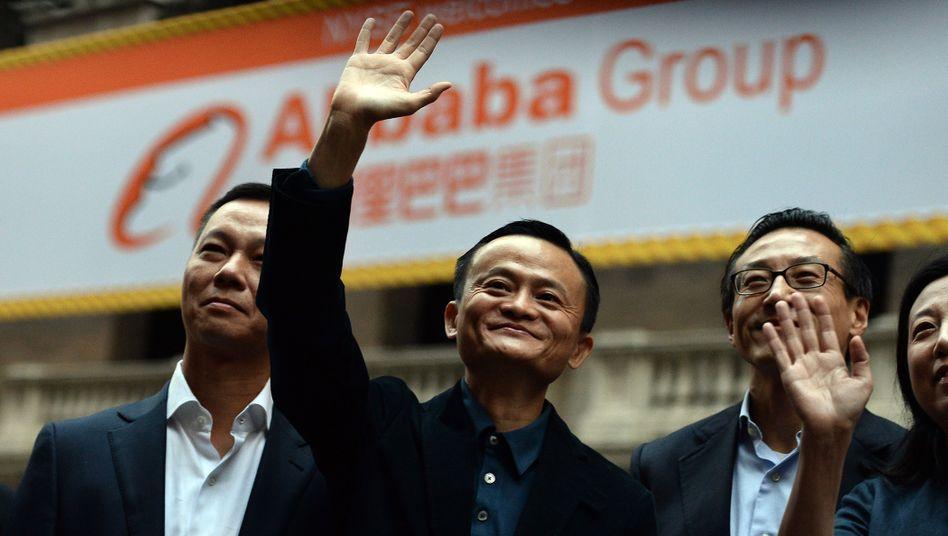 Weit oben: Alibaba-Gründer Jack Ma bei seiner Ankunft vor der New York Stock Exchange
