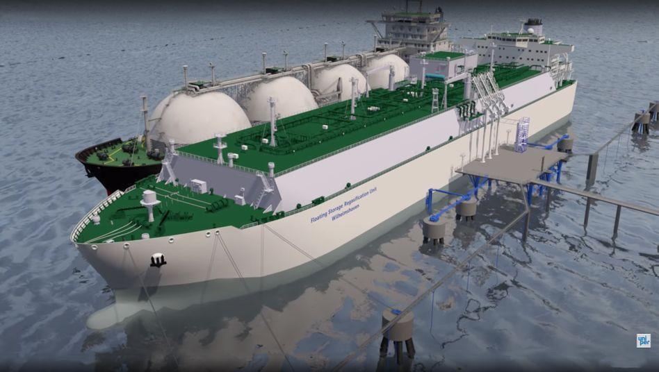 Kein Schiff wird kommen: Skizze für das LNG-Terminal in Wilhelmshaven
