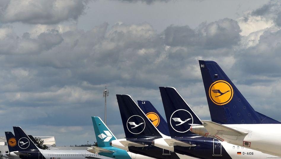 Lufthansa-Maschinen auf dem Münchener Flughafen Franz-Josef Strauss
