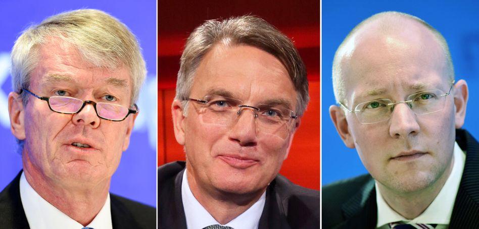 DZ-Bank baut um: Wolfgang Kirsch (l.) gibt die Führung der Bank zum Jahresende 2018 ab. Sein Vertrag läuft eigentlich bis 2020. Uwe Fröhlich (Mitte) und Cornelius Riese (r.) sollen als neue Doppelspitze die Bank leiten