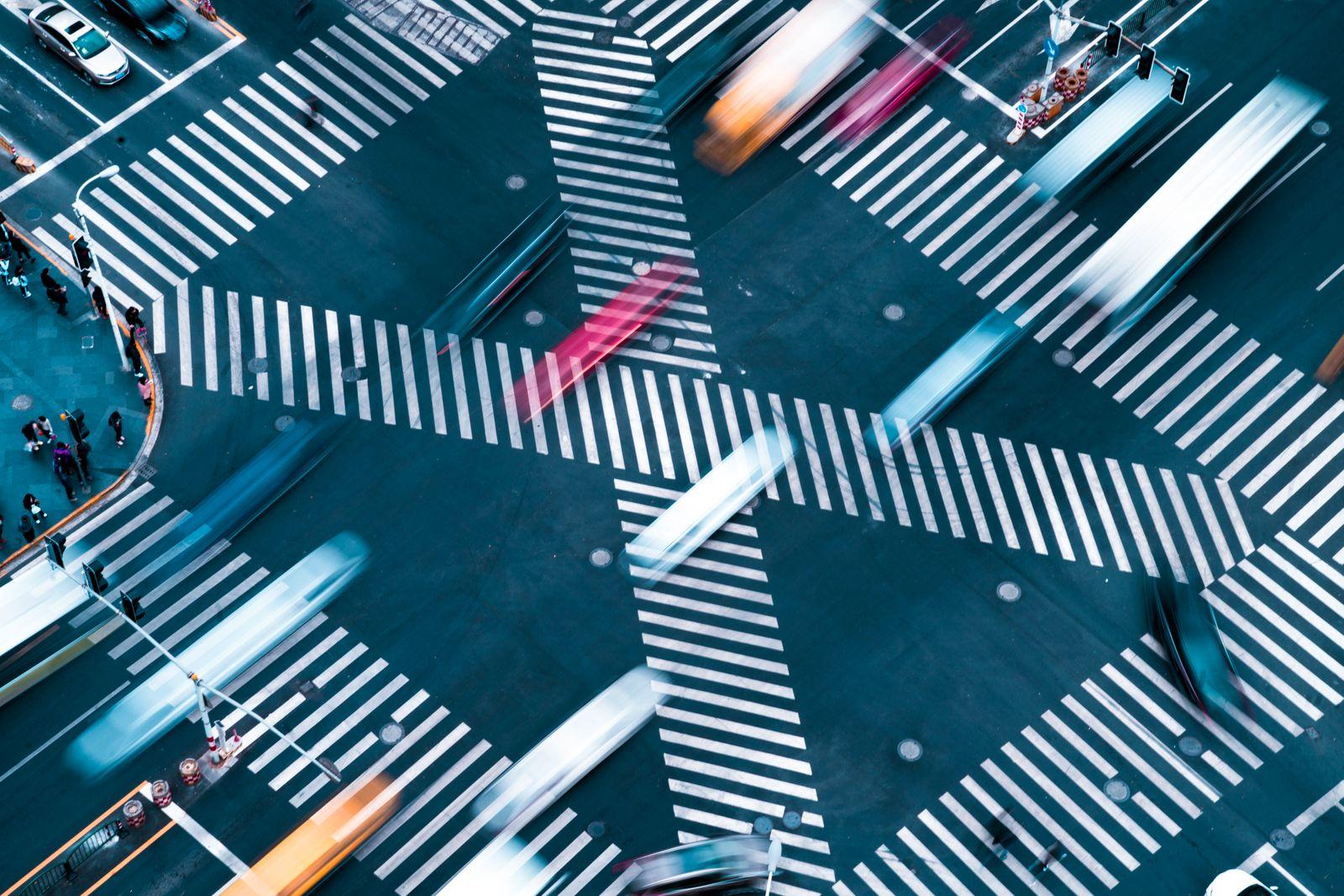 Blur motioin concept.car move fast on crosswalk