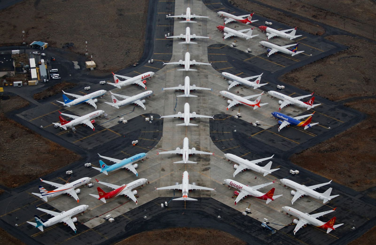 Grounded Boeing 737 MAX aircraft are seen parked at Grant County International Airport in Moses Lake