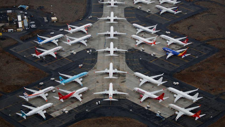 Am Boden: Stillgelegte Flugzeuge des Typs Boeing 737 Max auf einem Flugplatz in Moses Lake (US-Staat Washington)