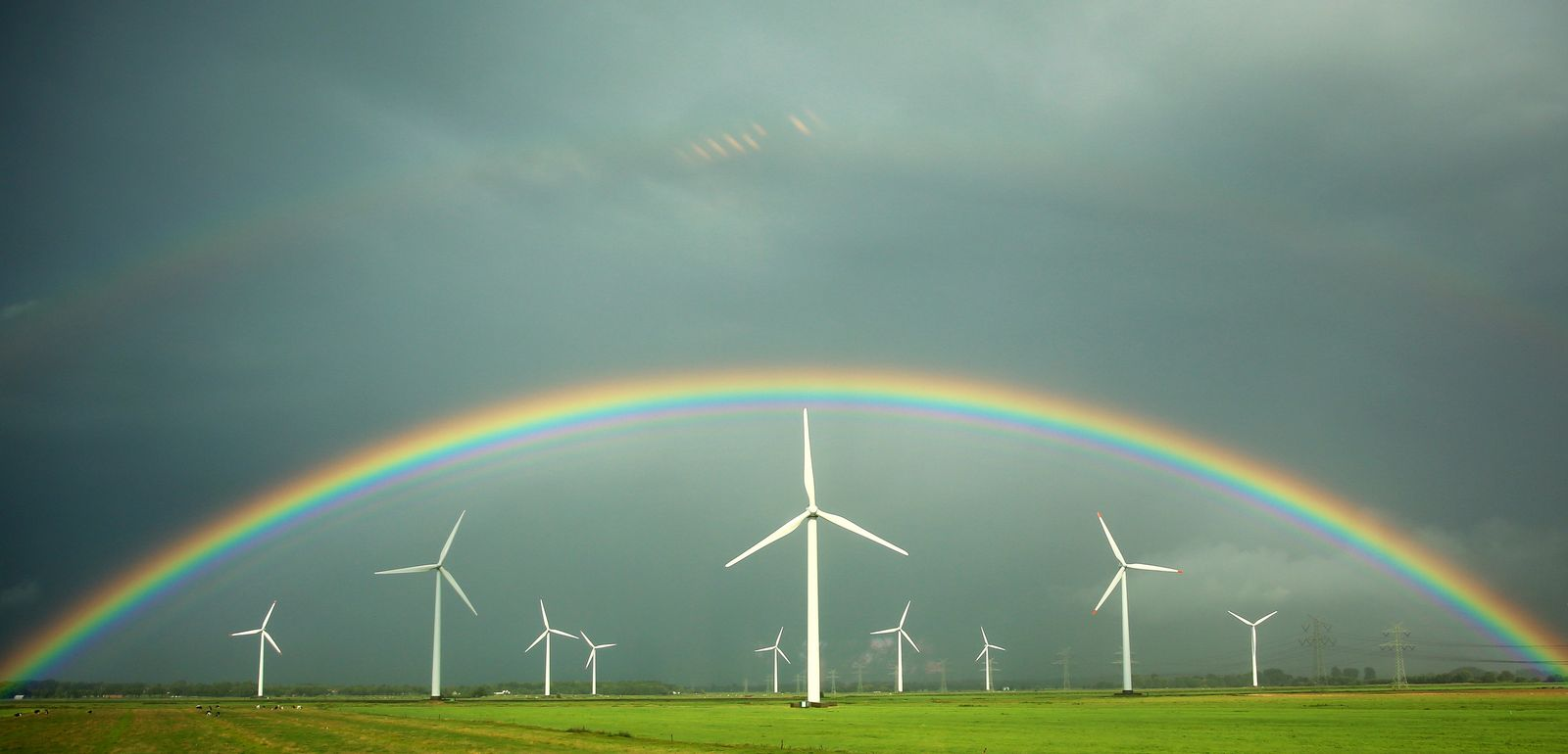 Regenbogen / Windrädern / Ökostrom / Windräder / Energie