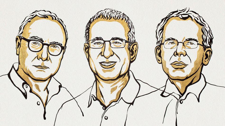 Die Forscher und Arbeitsökonomen David Card, Jousha Angrist und Guido Imbens (v. l.) erhalten dieses Jahr den Nobelpreis für Wirtschaftswissenschaften
