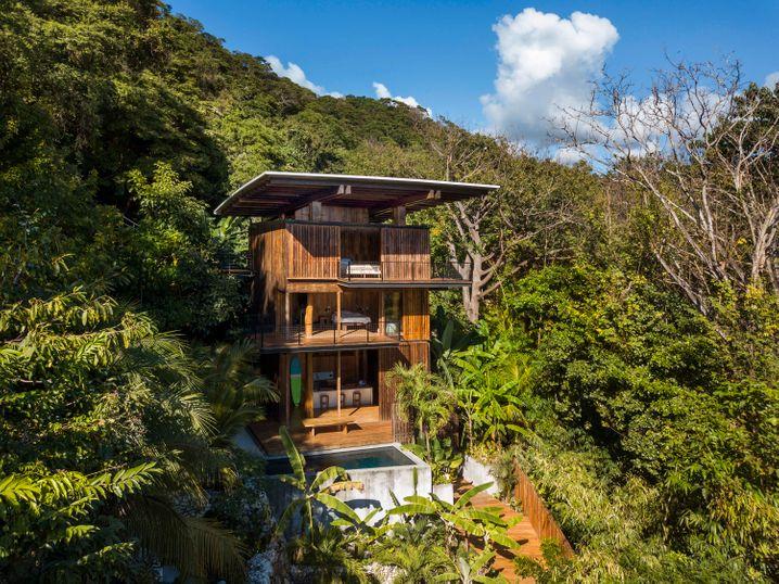 Holz an der Hütten: Dieses Dschungelhaus steht in Costa Rica