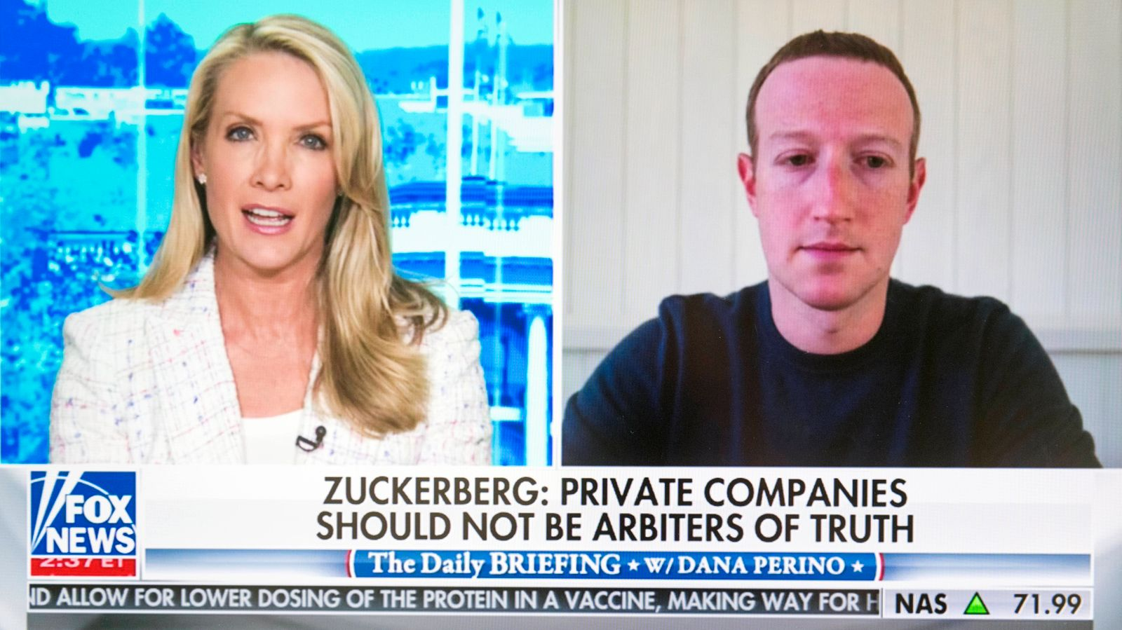 May 28, 2020 - Palo Alto, California, U.S. - A screen grab of Facebook CEO MARK ZUCKERBERG being interviewed by DANA PER