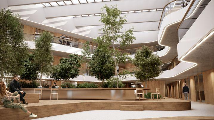 Nicht nur grün gelegen, sondern auch grün gestaltet: Der neue Rimac-Campus soll auf längere Sicht Platz für 2500 Mitarbeiter bieten. Allerlei Annehmlichkeiten sollen ihnen den Arbeitsalltag erleichtern.