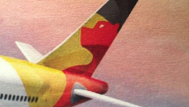 Geplantes neues Air-Berlin-Logo auf Flugzeug