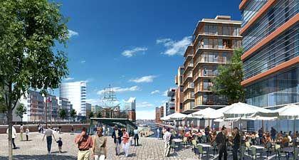 Der erste öffentliche Kultur- und Freizeitort der Hafencity:Blick von den Magellan-Terrassen auf den Sandtorhafen/