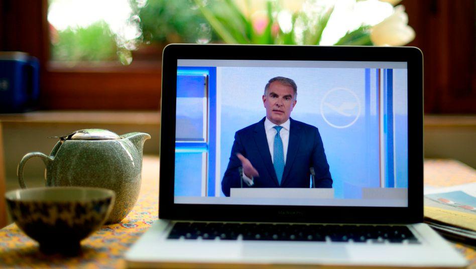 Lufthansa-Chef Carsten Spohr spricht auf der digitalen Hauptversammlung seines Unternehmens