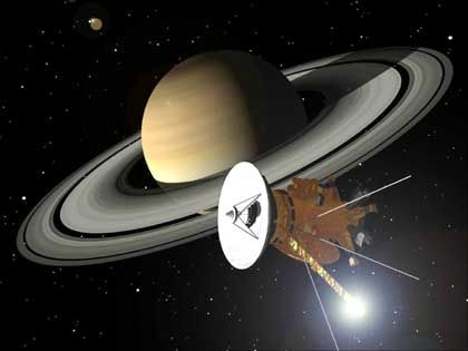 """""""Cassini""""-Sonde: Anflug auf Saturn (Zeichnung)"""