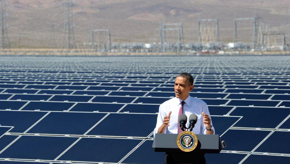 Barack Obama bei einer Rede in Boulder City im US-Bundesstaat Nevada: Der Buy American Act ist ein Wettbewerbsvorteil für die heimischen Anbieter