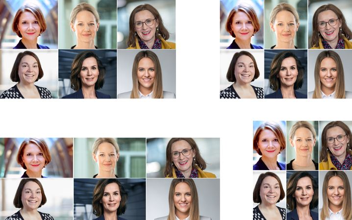 Von ihnen werden wir noch mehr hören: Doreen Nowotne, Anna Maria Braun, Sigrid Nikutta, Melanie Köhler, Hildegard Wortmann, Christina Foersters (von oben links im Uhrzeigersinn).