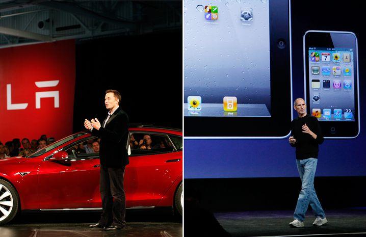 Musk und Jobs auf der Bühne: Lieber unternehmenseigene Shows statt Branchenmessen-Präsentationen