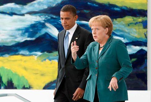 Merkel, Obama (bei einem Treffen im November in Berlin): Telefongespräch über Wirtschaftskrise und Afghanistan