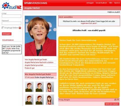StudiVZ versus Facebook: Die Bundeskanzlerin ist auf beiden Plattformen vertreten